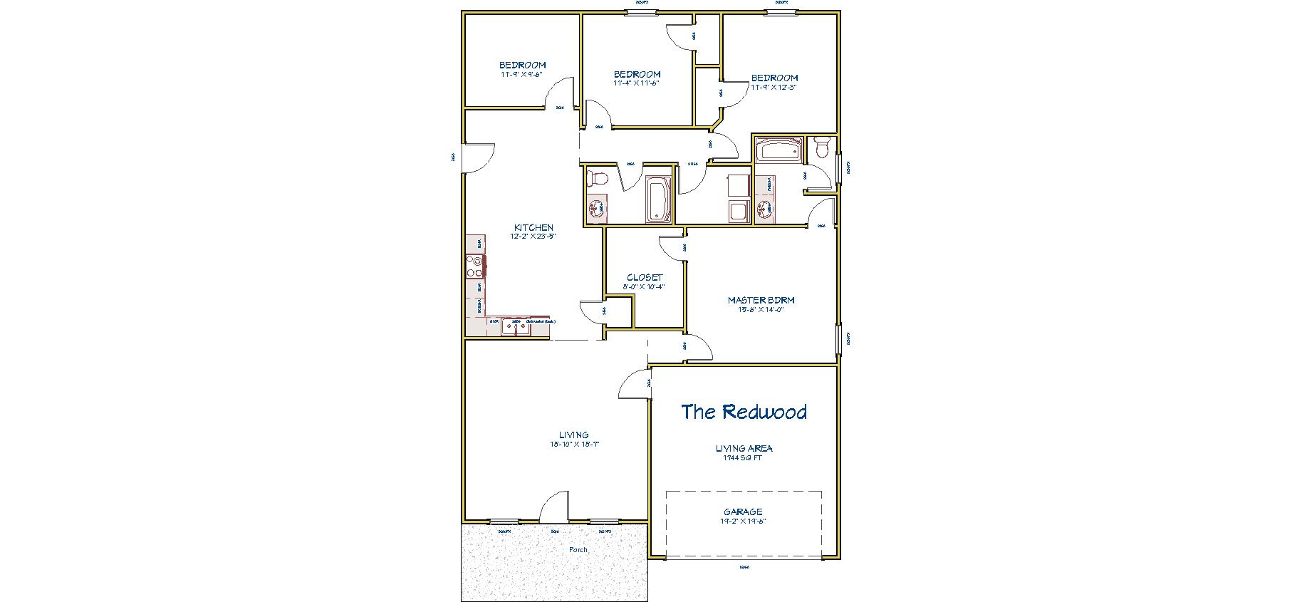 4 Bedrooms   split plan 2 Baths Kitchen Dining Combo Eating Bar open to  Living Area Large Master Bedroom with Walk in closet. The Redwood   Pankratz Construction